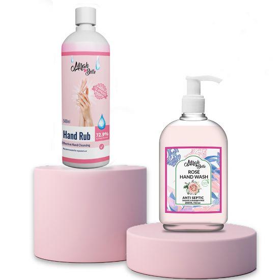 Rose Hand Wash & Sanitizer Gel Combo (250ml+500ml)